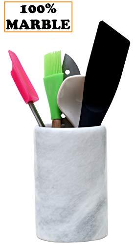 Radicaln Utensilienhalter Essstäbchen Handarbeit Marmor Besteck Caddy Küchenutensilien Halter - 12,5 x 12,5 x 16,5 cm hoch Home Basics Küche Dekor Marble Utensil Holder (WZ-03)
