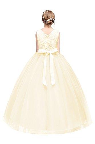 MisShow- Kinder Tüll Hochzeitskleid Blumenmädchenkleid Champagner Gr.140