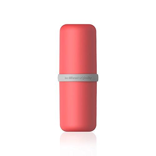 Olliwon custodia di spazzolina e dentifricio da viaggio scatola multifunzione porta spazzolino e dentifricio come tazza con coperchio,bath travel spazzolino dentifricio tazza - rosso