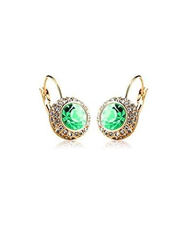 Boucles d'oreilles en plaqué or avec éléments Swarovski pour Femmes et Filles Moon river () en vert