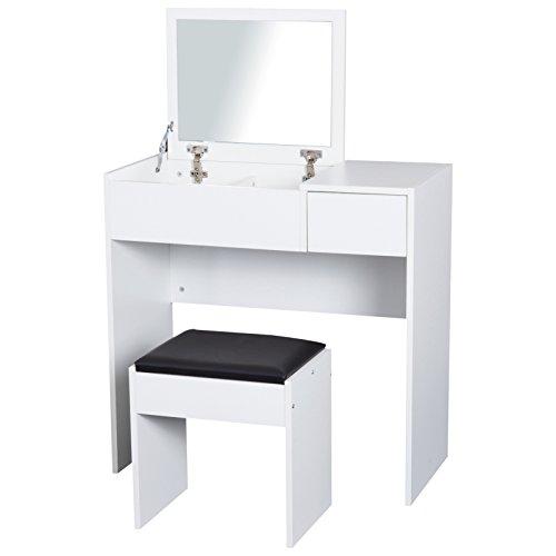 HomCom® Tocador Taburete Espejo Tapa Abatible Mesa