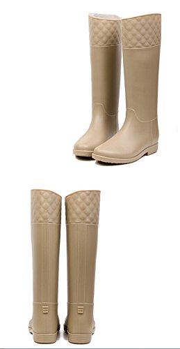 KISS GOLD (TM) Délicat Mi-Mollet Bottes de Pluie Chaussures pour Femmes Kaki