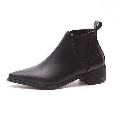 RTRY Scarpe Donna Pu Cadere La Moda Stivali Stivali Chunky Tallone Punta Tonda Gore Per Casual Nero Black Us8 / Eu39 / Uk6 / Cn39 US5.5 / EU36 / UK3.5 / CN35