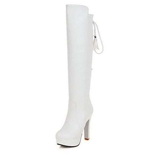 VogueZone009 Damen Rein Reißverschluss Rund Zehe Hoher Absatz Stiefel mit Metallisch, Weiß, 38