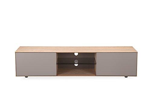 Meuble TV 2 portes TAUPE et décor chêne - design moderne - Qualité Excellence - OMEGA