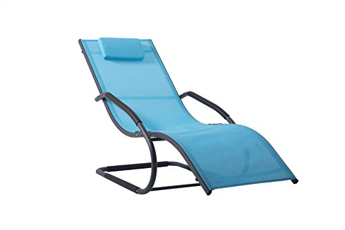 Vivere WAVELNG1-OB Wave Lounger - Ocean Blue on Matte Grey, 168x61x91 cm Best Price and Cheapest