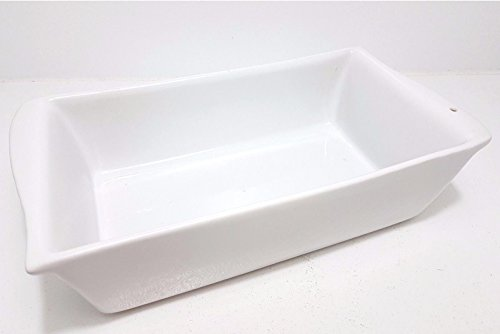 Backform Rechteckige Tiefe (Große Auflaufform 30x16 cm weiß Backform Kuchenform rechteckig eckig mit Griffen)