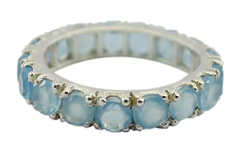 Riyo anello in calcedonio blu naturale delicato fatto a mano in argento sterling 925