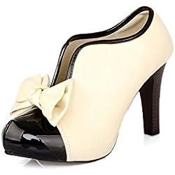 Très Chic Mailanda Damen Schuhe Pumps High Heels Ankle Boots Kurzschaft Stiefelette Stiefel Hochzeit Brautschuhe mit Absatz 35 bis 41 (41, creme)