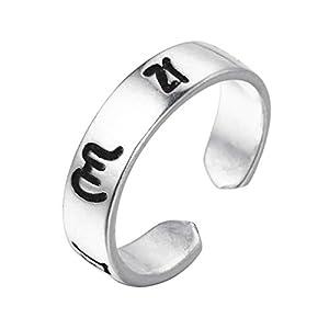 Chandler Buchstabe M Polierte breite Ringe für Damen Herren Unisex Enthic Finger Zehenfuß Schmuck Fashion Ring 925 Silber Retro Bijoux
