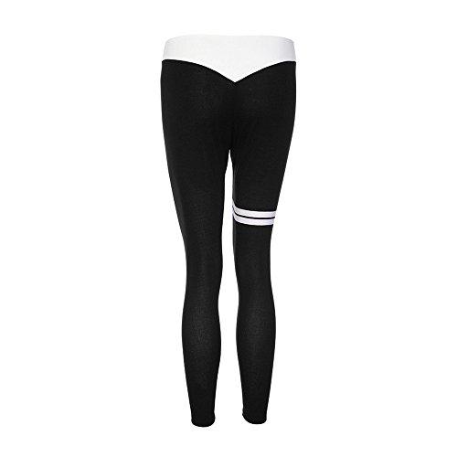Italily -Donne Stampate Sport Yoga Allenamento Palestra Fitness Esercizio Pantaloni Atletico Pantaloncini aderenti per lo sport sportivo slim Black