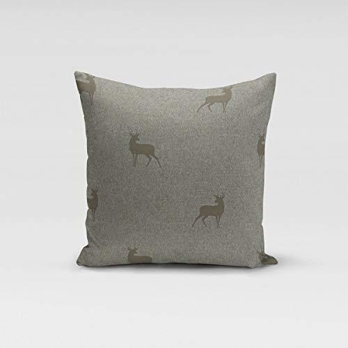 SCHÖNER LEBEN. Kissenhülle dunkle Hirsche braun beige türkis Verschiedene Größen, Kissenhüllen Größe:40x40cm (HxB)