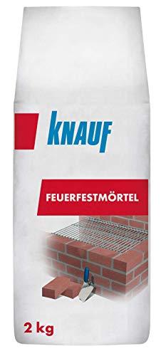 Knauf Feuerfest-Mörtel 2-kg selbsthärtender Feuer-Mörtel zum Vermauern von Schamottsteinen für Herde, Öfen und Kamine im Innen- und Außen-Bereich, hitzebeständig, hohe Endfestigkeit, atmungsaktiv