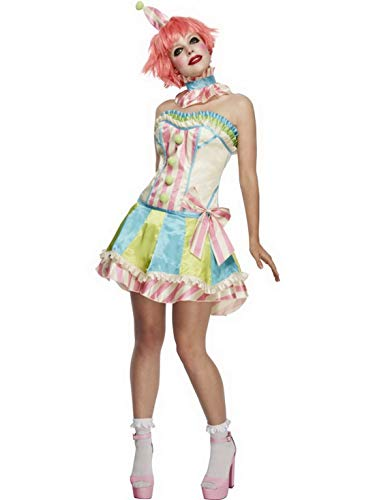 Artisten Kostüm - Luxuspiraten - Damen Frauen buntes Zirkus Clown Kostüm mit kurzem Rock, Korsett, Clowns Kragen und Mini Hut, perfekt für Karneval, Fasching und Fastnacht, S, Mehrfarbig