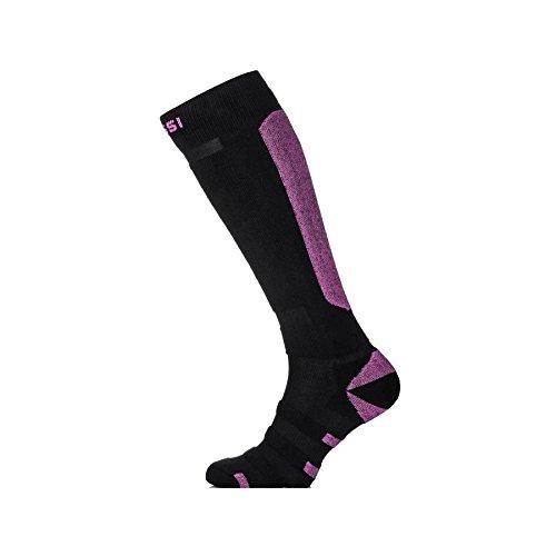 Skisocken Snowboardsocken Modell SN atmungsaktiv und warm Damen Herren Kinder - schwarz-violett, 38-41