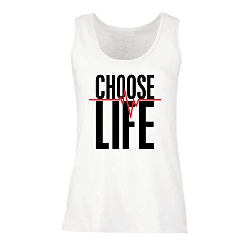 lepni.me Damen Tank-Top Wählen Sie das Leben Herzschlag, Anti-Abtreibung politischen Protest, Christian Zitat (Medium Weiß Mehrfarben)