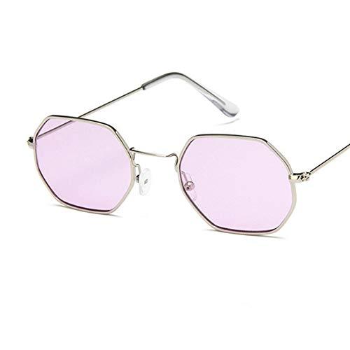 Zbertx Mode Sonnenbrillen Frauen Kleinen Rahmen Polygon Klare Linse Sonnenbrille Männer Vintage Sonnenbrille Hexagon Metallrahmen,Lila