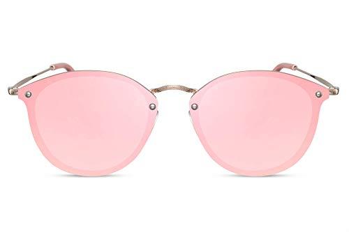Cheapass Sonnenbrille Rund Rosa Flach-e Gläser UV-400 Metall Designer-Brille Damen Frauen