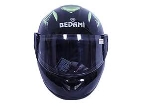 BEDAMI Face Helmet in Matt Finish with Smoke Visor (Matt Green)-ORLOK_PV_1415005N