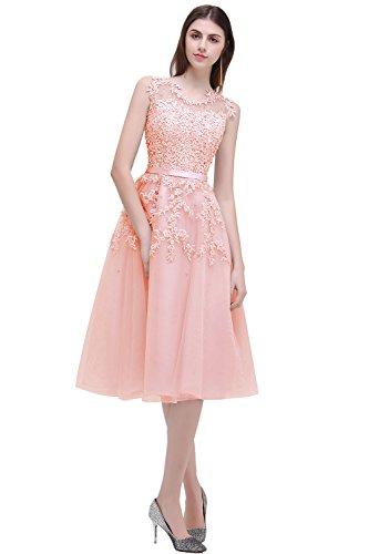 Babyonline Damen Blush Pink Perlstickerei Spitze Applique Tüll Schärpe/Band Abendkleid Midi...
