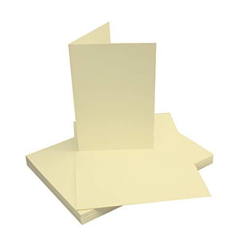 Faltkarten DIN B6 | Vanille | 50 Stück | Premium QUALITÄT - 11,5 x 17 cm - sehr formstabil - für Drucker geeignet! Ideal für Grußkarten und Einladungen - Qualitätsmarke: NEUSER FarbenFroh