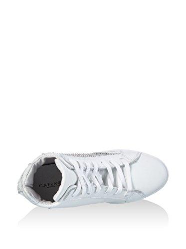 Sneaker Keil von 7 cm Cafe Noir EM110 weißem Leder mit Vintage-Effekt Bianco
