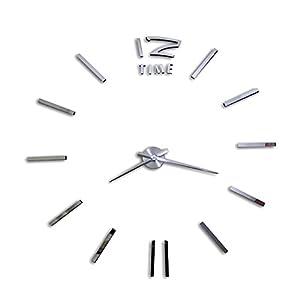 Alxcio DIY große Wanduhr 3D Acryl Aufkleber-Big-Uhr mit 50-120cm Durchmesser, Modern Kreatives Design, Removable Dekoration für Haus, Büro, Schlafzimmer, Wohnzimmer (Silber)