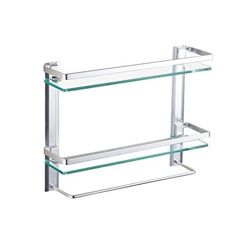 Bathroom rack Zweischichtiges Badezimmer-Regal mit Aluminiumschiene mit Stange und extra dicken gehärteten Glas-Duschwänden zur Wandbefestigung TAO LU Shop (größe : 60x12x44cm) - Taos Spiegel