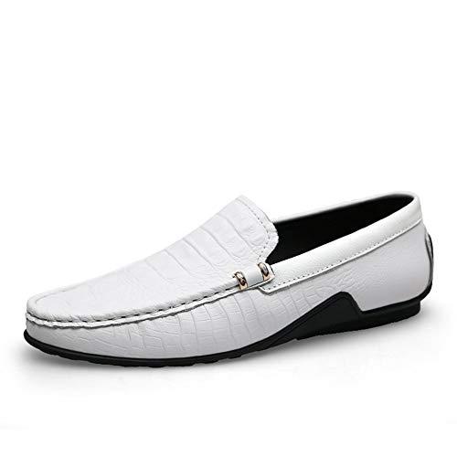 Geprägtes Leder Sandalen (Shengjuanfeng Freizeit Driving Loafers Für Männer Oxfords Geprägte Flache Penny Schuhe Echtes Leder Slip On Stitch Leichte Schuhe (Color : Weiß, Größe : 40 EU))