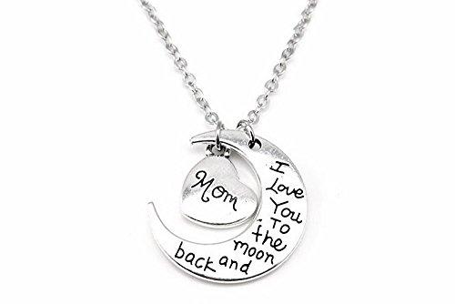 """Kim Johanson Geschenkset für die Mama """"I love you to the moon and back"""" Halskette & Schlüsselanhänger in Silber inkl. Geschenkverpackung"""