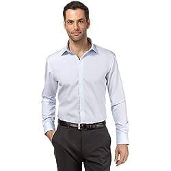Vincenzo Boretti Camisa de Hombre, Corte Ajuste Recto/Regular-fit, 100% algodón, Manga-Larga, Cuello Kent, con entredós de Contraste, Lisa - no Necesita Plancha Azul Hielo/marrón 41/42