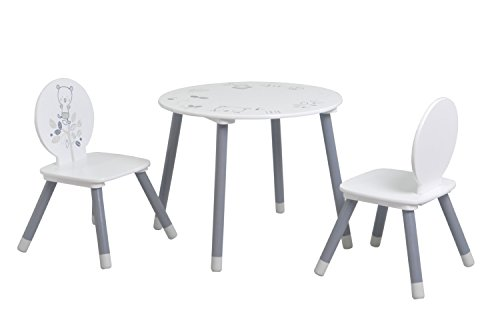 Demeyere 138551 Bear Set de Table + 2 Chaises Bois MDF/Pin Massif Blanc/Gris 60 x 60 x 50 cm