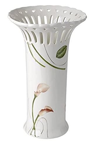 5th Avenue Collection Bone China Vase Pierced with Calla Lily Decor by 5th Ave Store