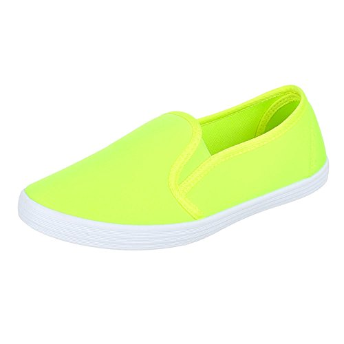 Ital-Design, manivelle de V05, Chaussures basses moderne Chaussons jaune fluo
