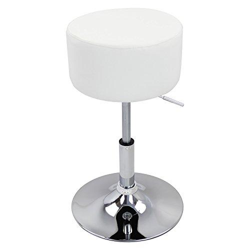 WOLTU BH14ws-1 Design Hocker mit Griff, stufenlose Höhenverstellung, verchromter Stahl, Antirutschgummi, pflegeleichter Kunstleder, gut gepolsterte Sitzfläche, weiß -