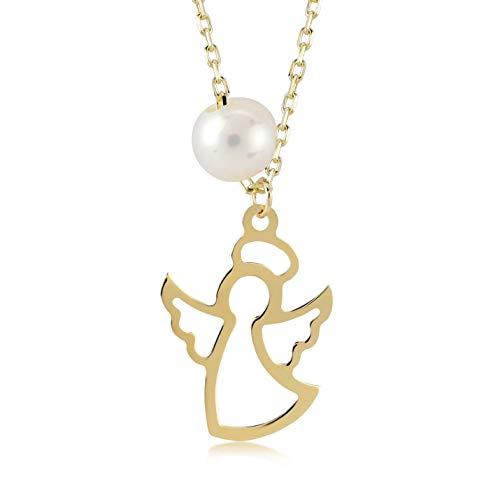 Damen Halskette 14 Karat / 585 Gelbgold mit Schutz-Engel und Mallorcaperle als Anhänger, Kettegröße 45cm Geschenk Idee, Federringverschluss