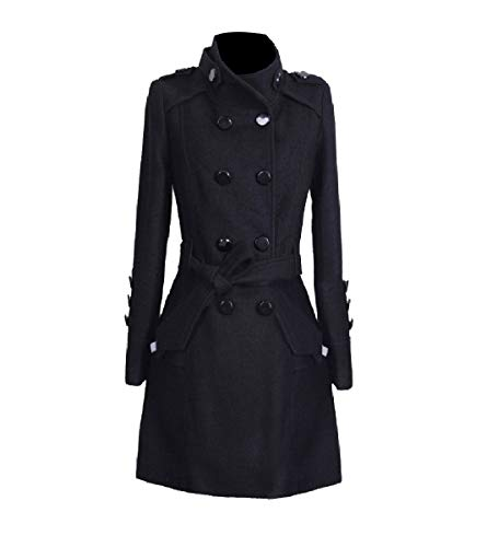 CuteRose Womens Tunic Overcoat Jackets Double Button Classic Long PEA Coat Black L Tall Classic Peacoat