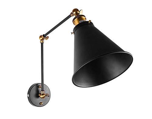LED Deckenleuchte Industrie Swing Arm Wandleuchte Shade-justierbarer Handgriff Rustic Loft-Licht-Leuchter-Wand-Lampen Lampen E27 Black Metal -