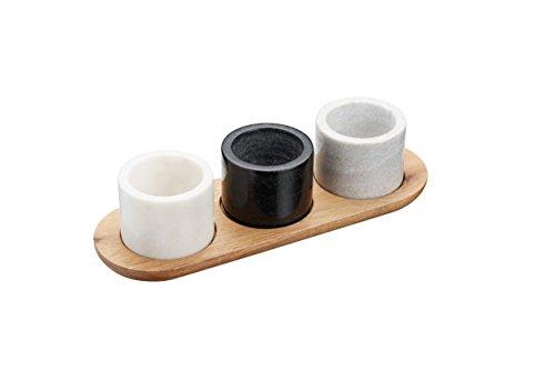 Kitchen Craft MasterClass Artesà Marmor-Servierschalen/-Saucentöpfe und -Tablett, weiß/Grau/Schwarz, 4-teilig