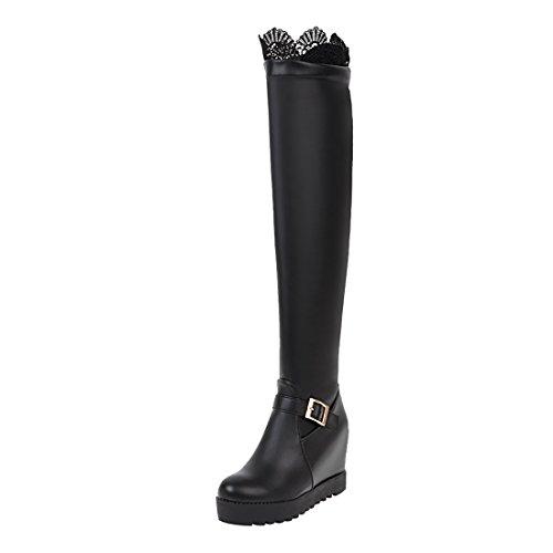 UH Damen Keilabsatz Overknee Stiefel Plateau Langschaftstiefel mit Spitze Fashion Bequeme Boots