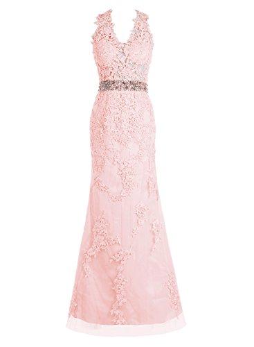 Bbonlinedress Robe de cérémonie Robe de soirée en dentelle tulle forme empire longueur ras du sol Rose