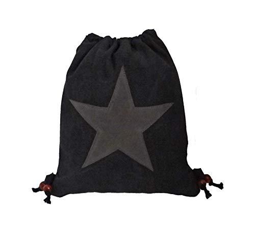 Treend24 Canvas Turnbeutel Rucksack Stern für Damen und Herren in Boho Hipster Gym Bag Perfekte Größe (Schwarz)