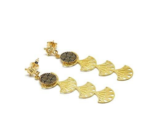 Orecchini in oro 24K resina albero di ginkgo biloba Giappone oro nero regali personalizzati regalo di natale amici cerimonia di compleanno ospiti di nozze festa della mamma coppie donna