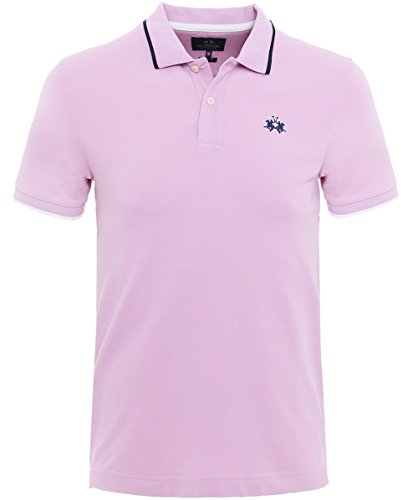La Martina Herren Slim-Fit Poloshirt Piqué Mendez XL Rosa (Stricken Pique Sport-shirt)