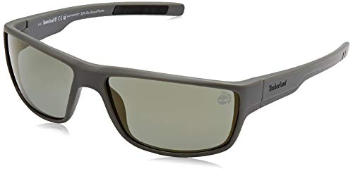 Timberland tb9153 occhiali da sole, matte dark green polarized, 63 uomo
