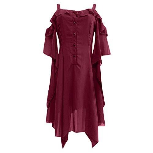 Gothic Kleidung Damen Binggong Kleid Mittelalter Kostüm Punk Karneval Kostüm Frau Cosplay Kurzarm Steampunk Minikleid Sommer Schnürung Rückenfrei Kapuzen Party Vintage Kleid T-Shirtkleid Tank - Verkaufen Kostüm