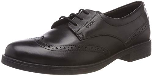 Geox JR Agata D, Zapatos de Cordones Brogue para Niñas, Negro Black C9999, 34 EU