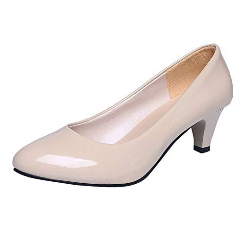 Damen Klassische Pumps in Lackoptik Basic Absatzschuhe Mittelhohe Elegante Schuhe Bequem Frühling Sommer Sandalen Celucke (Beige, EU40)