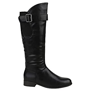 Gefütterte Damen Schuhe Stiefel Schnallen Lederoptik Klassisch 151888 Schwarz Bernice 38 | Flandell®