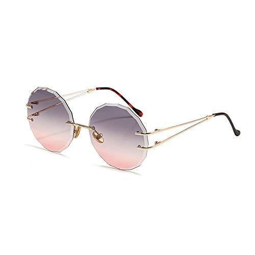 UV Schutz Mode Frameless Trimmen Marine Stück Sonnenbrille für Frauen Accessoires (Farbe : Purple/Pink)